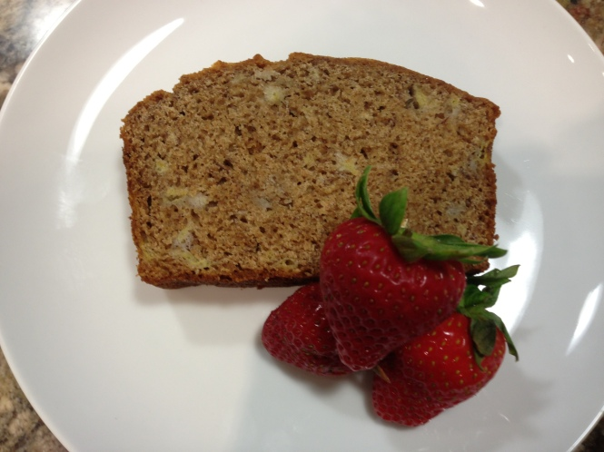 Banana Bread and Fresh Strawberries