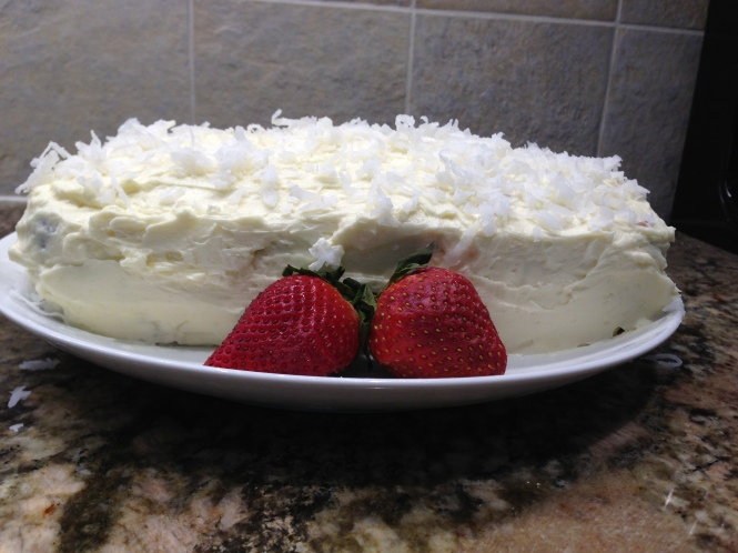 Pound cake with mock whipped cream frosting
