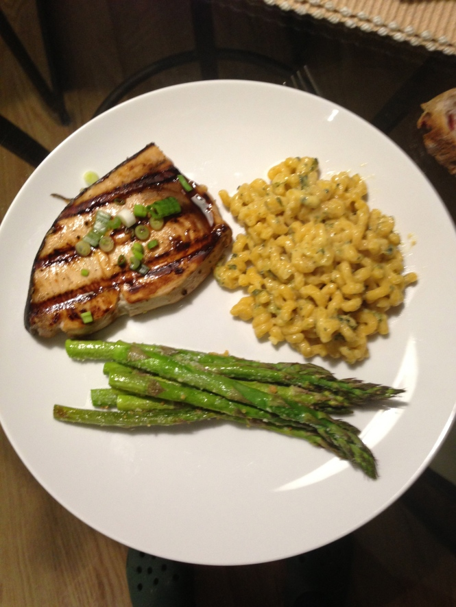 Grilled Swordfish with pasta and parmesan roasted asparagus.