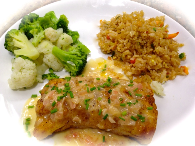Pan Fried Cod With Steamed Vegetables and Chicken Fried Rice...