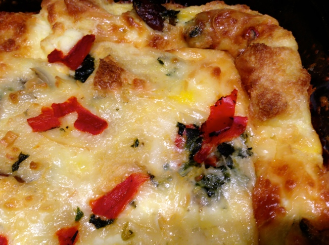Three Cheese Strata With Mushrooms, Tomatoes and Roasted Red Peppers