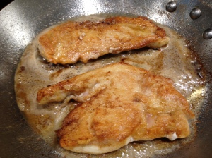 Cook the chicken breasts until golden and done. Be careful not to overcook...