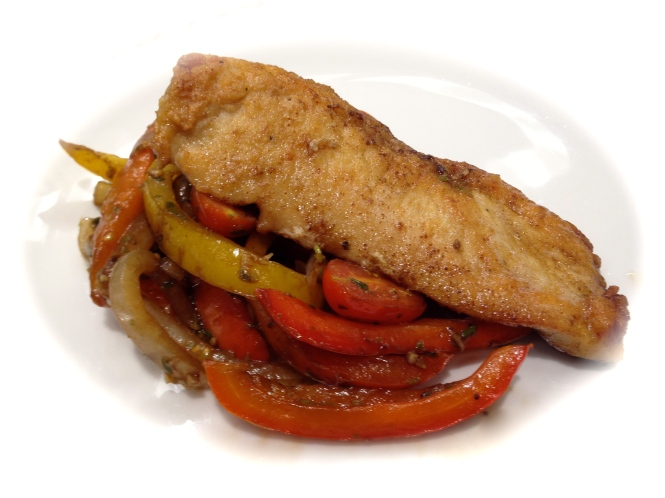 Chicken Cutlets with Peppers, Mushrooms, Onions and Tomatoes