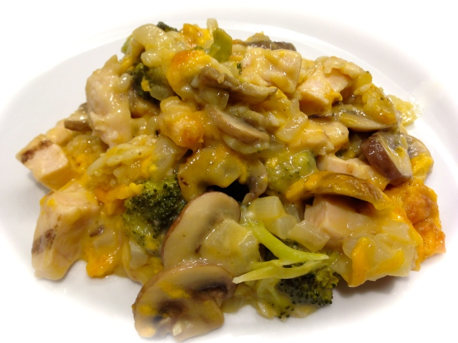 Chicken Broccoli Mushroom Cheese and Rice Casserole