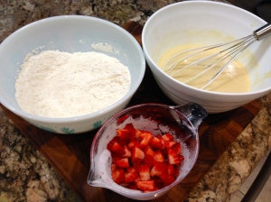 Wet And Dry Ingredients and Chopped Strawberries