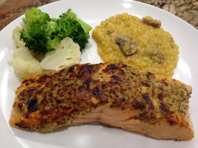 Serving Suggestion: Salmon with Mushroom Risotto and Steamed Vegetables