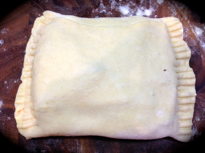 Make the pastry pocket and crimp the sides with a fork...