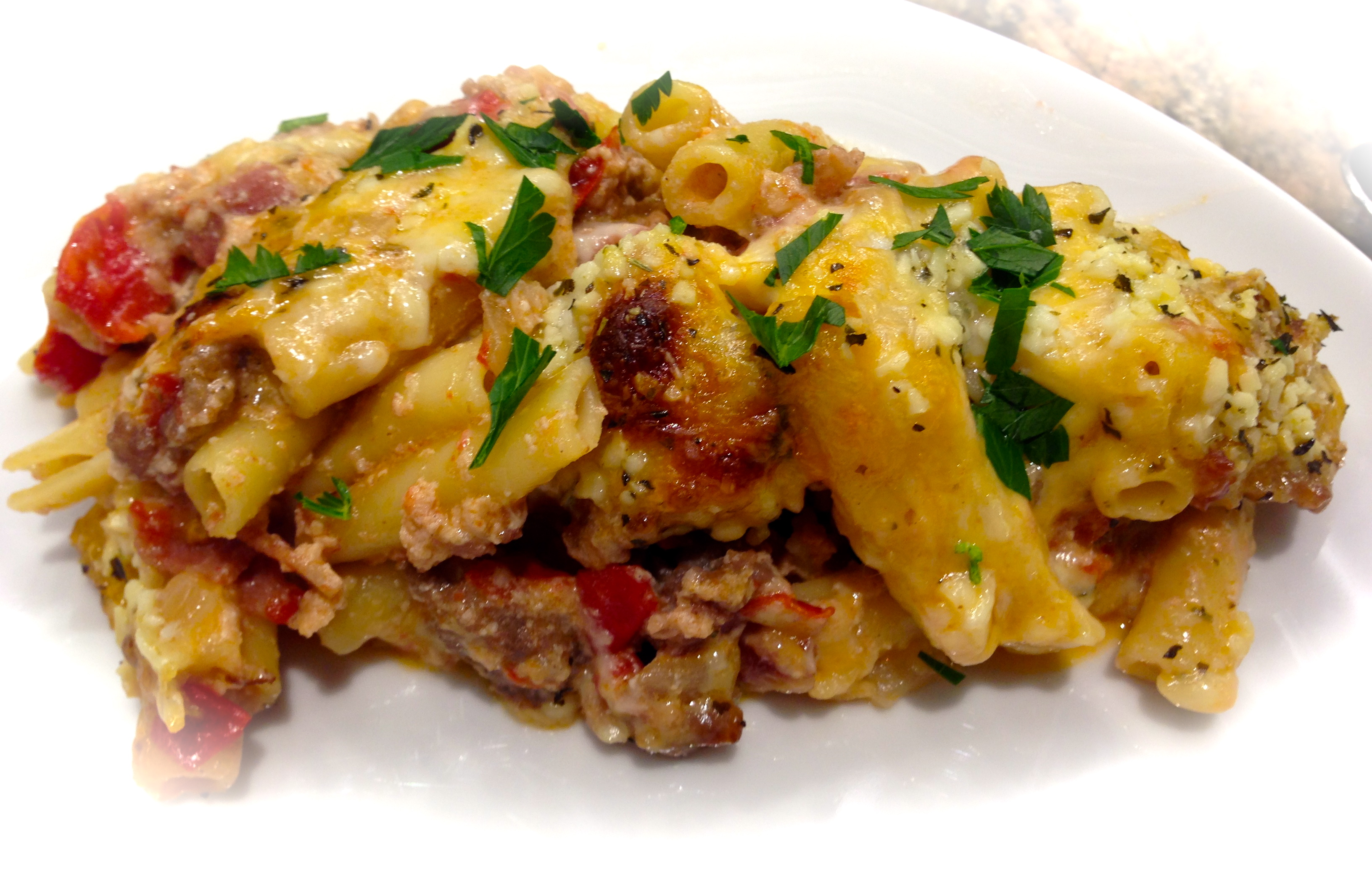 Baked Ziti With Sausage and Pancetta