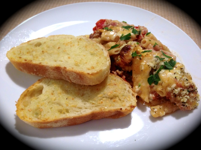 Serving Suggestion: Baked Ziti with Garlic Bread...