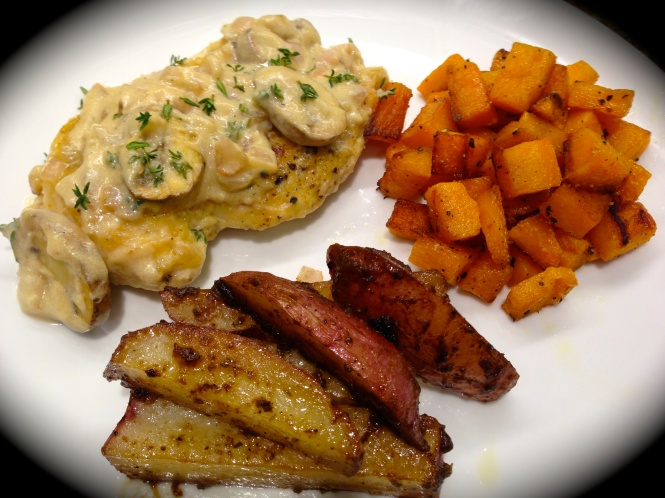 Serving Suggestion: Chicken with Roasted Butternut Squash and Balsamic Roasted Potato Wedges