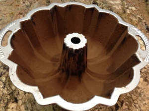 Bundt pan dusted with cocoa powder...