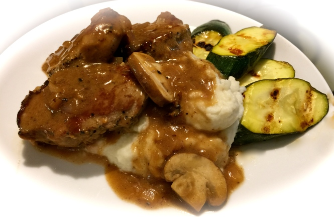 Serving Suggestion: Pork Medallions Over Mashed Potatoes With Grilled Zucchini