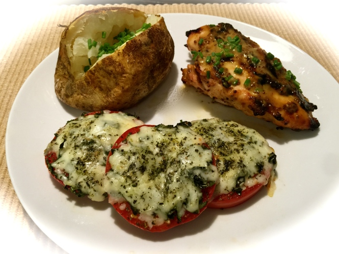 Serving suggestion: Grilled Honey Mustard Chicken, Baked Potato and Simple Oven Roasted Tomatoes