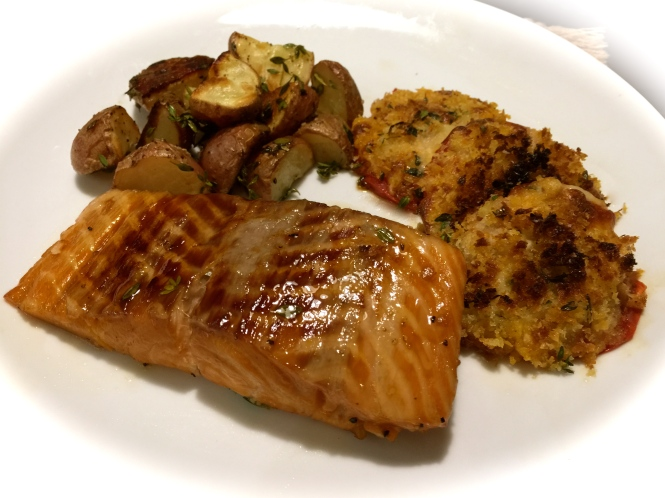 Serving Suggestion: Grilled Salmon with Panko Crusted Tomatoes and Roasted Baby Red Potatoes...