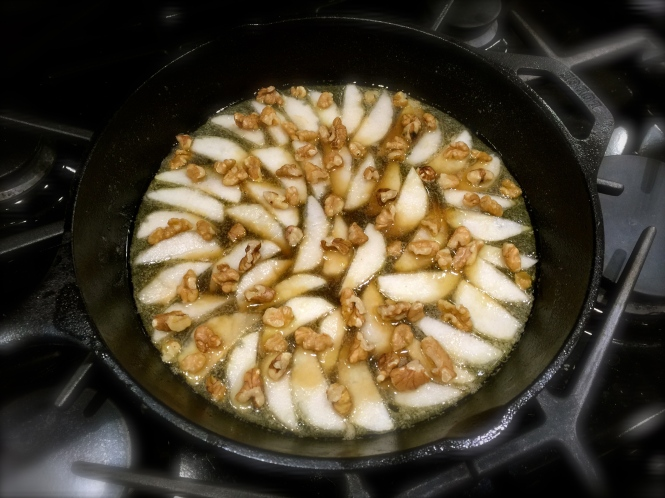 The Pears And Walnuts At The Bottom Of The Skillet