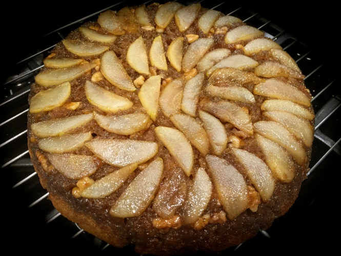 Maple Pear Walnut Skillet Cake