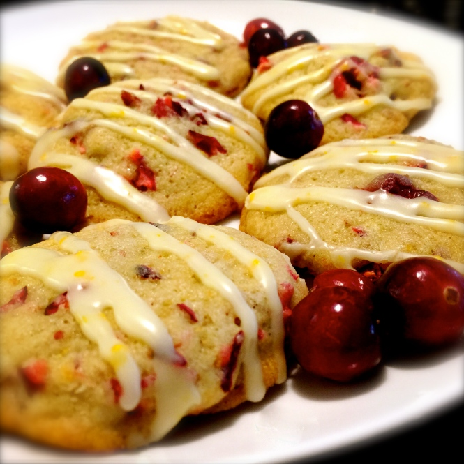 Iced Cranberry Orange Walnut Cookies