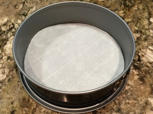 Line the bottom of the pan with parchment paper
