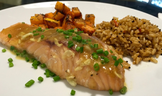 Serving suggestion: salmon with southwestern rice and oven roasted butternut squash