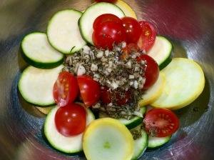 garlic roasted summer squash and tomatoes