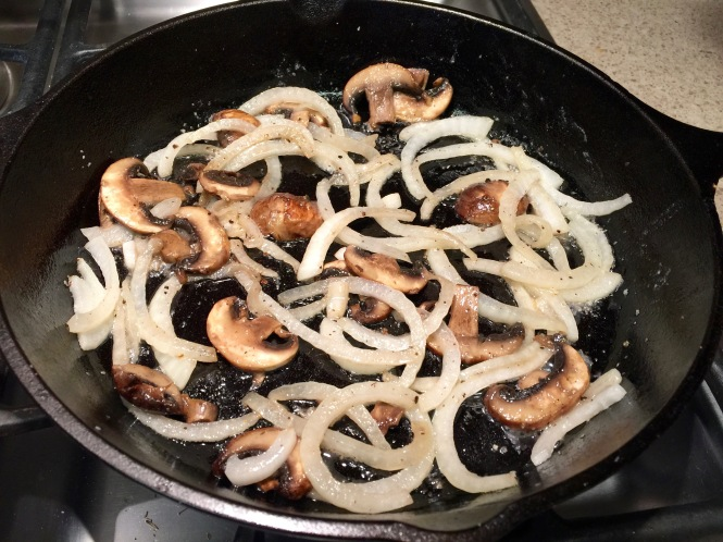Cooked onions and mushrooms