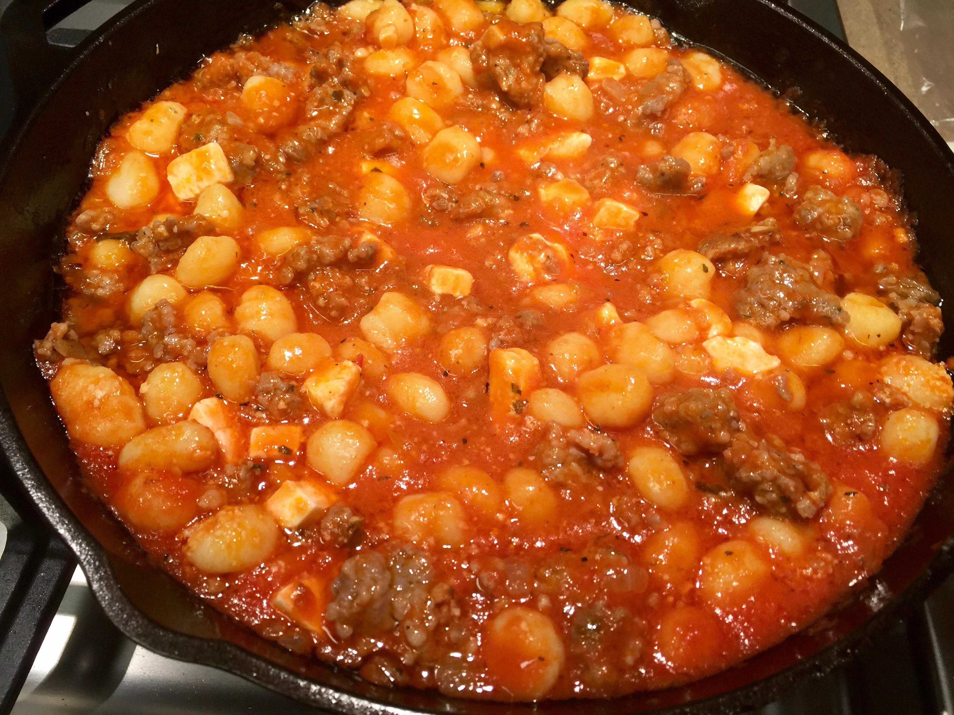Gnocchi, sausage and sauce mixture.